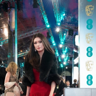 Rebecca Wang in arrives at the 69th BAFTA Film Awards
