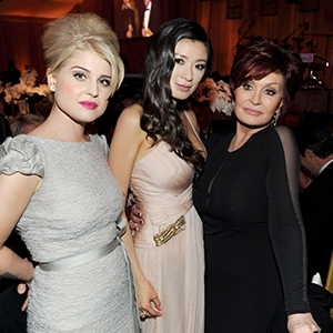 Rebecca Wang with Sharon and Kelly Osbourne at Academy Awards viewing party on Oscars night.